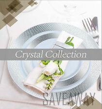 Elegant Wedding Party Disposable Plastic Plates Crystal Cream-Gold-White-Silver