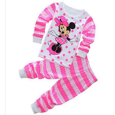 Minnie Mouse Girls Pajamas Baby Clothes Kids Sleepwear Nightwear T-shirt+Pants