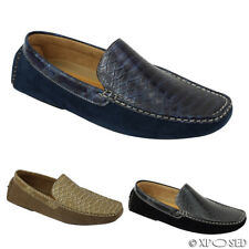 Mens Faux Suede Patent Snakeskin Effect Leather Loafers Slip on Driving Shoes