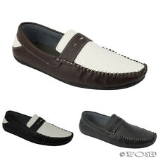 Mens Black Brown White Faux Leather Penny Loafer Smart Moccasin Slip on Shoes