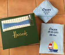 Personalised Embroidered Baby Boy or Girl Blanket + Hooded Towel in Gift Box etc
