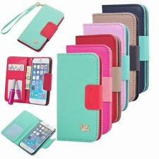 New Fashion PU Leather Flip Wallet Card  Slot Case Cover For iPhone and Samsung