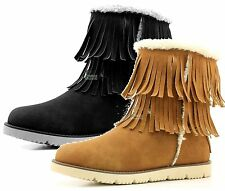 Women's Fringe Ankle High Comfort Flat Mid Calf Eskimo Fur Winter Warm Snow Boot