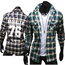 Luxury Men's Slim Fit Plaids Shirts Casual Dress Shirts Long Sleeve Coat Jackets