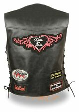 Womens Black Leather 'Love to Ride' Leather Motorcycle Vest w Patches