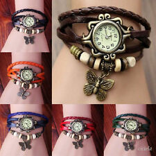 Woman Girls Weave Butterfly Leather Bracelet Quartz Wrap Retro Wrist Watch