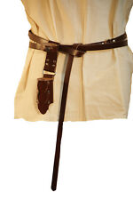 LARP-Cosplay-Roleplaying BROWN LEATHER FOAM WEAPON SMALL DROP SCABBARD & BELT