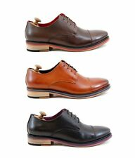 New Mens Smart Derby Laced Leather Italian Black Brown Tan Shoes 7 8 9 10 11 12