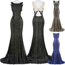 Bling Sequins Long Evening Ball Prom Gown Formal Masquerade Cocktail Party Dress
