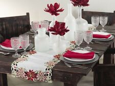 "Embroidered & Cutwork Holiday Poinsettia Ivory Table Runner, 16""x72"" Rectangular"