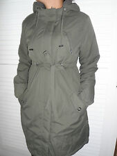 WOMANS LADIES KHAKI OLIVE MID WEIGHT HOODED PARKA STYLE WINTER KNEE LENGTH COAT