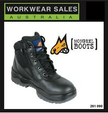 Mongrel Mens Black Leather Work Boots ZipSiders Australian Made 261 020 UK Size