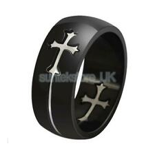 Unisex Punk Silver Cross Crucifix On Black Stainless Steel band Finger Ring Gift