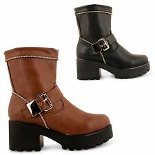 WOMENS LADIES CHUNKY MID HEEL BUCKLE GOLD ZIP UP PLATFORM ANKLE BOOTS SHOES