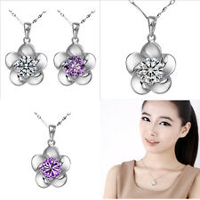 Charm Crystal Stone Inlay Silver Flower Pendant Womens Necklace Crystal Chains