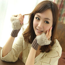 Womens Ladies Fingerless Faux Fur Wrist Knitted Mitten Gloves Winter Warm