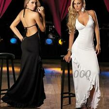 Sexy Open Back Halter Triangle Cup Womens Night Out Evening Party Dress Clubwear