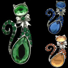 Antique Design Pets Cat Kitten Kitty Brooch Pin Figural Costume Jewelry Gift
