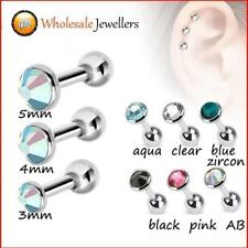New 1pc 316L Steel Gem Tragus Cartilage Helix Ear Studs Earring Body Piercing