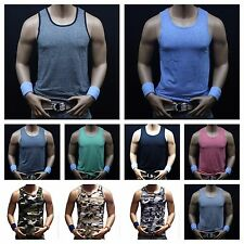 Men Muscle Tank Top T-Shirts Fitted Sleeveless Gym Fitness Bodybuilding Workout