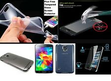 Clear Slim Gel Case Cover & Tempered Glass Screen protector great deal uk seller