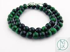 Green Tigers Eye Natural Gemstone Necklace 8mm Beaded Silver 16-30inch Healing