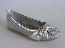 New Girls Youth Kids Silver Glitter Dress Shoes Flats Rhinestones Christmas