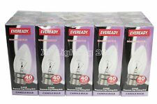 Pack 10 Candle Light Bulbs 40W BC,ES,SES,SBC (Rough Service) 35mm Clear Candle
