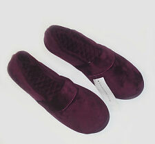 CHARTER CLUB PLUSH SLIPPERS Black HARD SOLE MEMORY FOAM