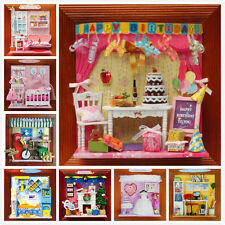 DIY Wooden Dollhouse 3D Miniature Doll House With Furniture Lights Photo Frame
