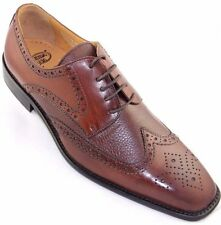 Calzoleria Toscana 7181 Calfskin & Deerskin Wingtip Mahogany Leather Dress Shoes