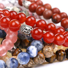 10mm Healing Crystal Gems Beads Stretch Bracelet Natural Tumbled Stone Jewelry