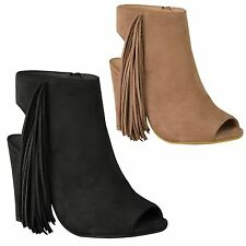 WOMENS LADIES TASSEL ANKLE BOOTS BLOCK HEEL ZIP CUT OUT ANKLE STRAP SHOES SIZE