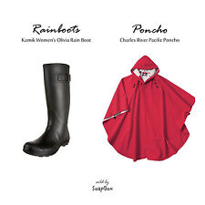 Kamik Womens Medium Size US 7 Olivia Rubber Rain Boot & Charles River Poncho