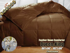 100% Goose Feather Down Comforter 95/5 Soft Bed Comforters Queen King, Chocolate