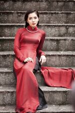 AO DAI Vietnam CUSTOM MADE, SILK & SATIN, Red Dress & Black Pant, V Neck 121815