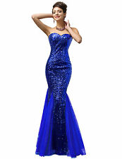 Women Blue Sequin Tulle Evening Formal Prom Dress Cocktail Party Bridesmaid Gown