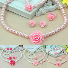 Kids Girls Child Pearl Flower Shape Necklace Bracelet Ring Ear Clips Set Jewelry