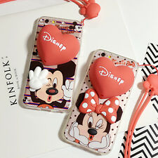 Lover Couple Cute Cartoon Red Heart Lanyard Case Cover Skin For iPhone 6 6S Plus