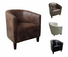 Luxury Leather Tub Chair Armchair for Dining Living Room Office Reception