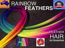 Feather Hair Extensions Multi-Coloured XXXXL Feathers Bright Rainbow FREE Beads