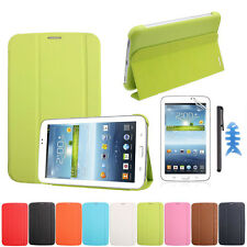 "Leather Case Cover 7"" For Samsung Galaxy Tab 3 7.0 T210 T211+Screen Film +Stylus"