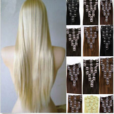 Synthetic Ladies Clip in Single Hair Piece OR 8PC full Hair Extension feel Human
