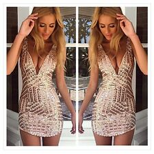 Sexy Sequins V Neck Bodycon Bandage Clubwear Cocktail Party Evening Short Dress