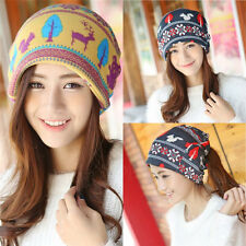 Lady Womens Deer Knit Winter Warm Hat Braided Baggy Beret Beanie Cap Hat Scarf