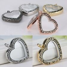 Living Floating Memory Crystal Heart Glass Locket Open Pendant Necklace No Chain