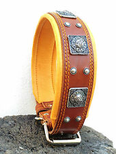 Genuine leather studded dog collar. Hand made in Europe. Top quality. L-XXL size