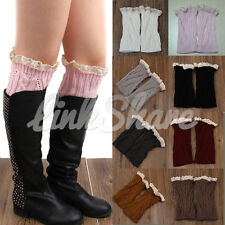 TX SELLER Women Winter Leg Warmers Lace Crochet Knit Boot Socks Toppers Cuffs
