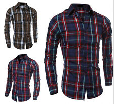 Fashion Men's Luxury Casual Plaids Shirt Slim Fit Long Sleeves Dress Shirts Tops
