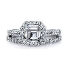 Great Gatsby Inspired Antique Style CZ Engagement Ring Wedding Set